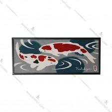 日本全绵条幅- 双锦鲤