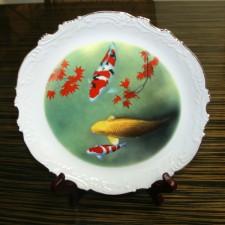 锦鲤油畫装饰瓷碟