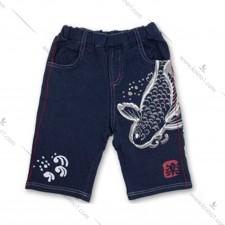 儿童休闲舒適棉质锦鲤图案中短裤
